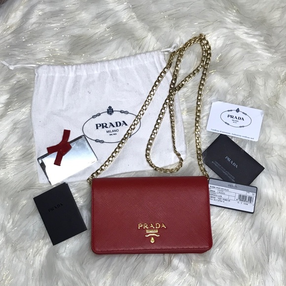e330dd856b1e Prada Luxe Saffiano Leather Chain Wallet Red